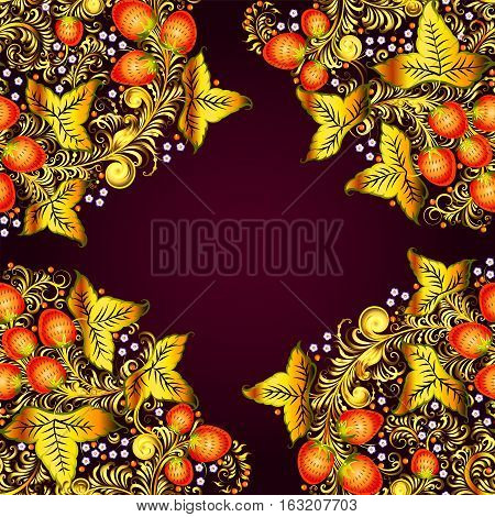 Seamless Pattern With Elements Of Traditional Russian National Painting In Khokhloma Style - Flowers
