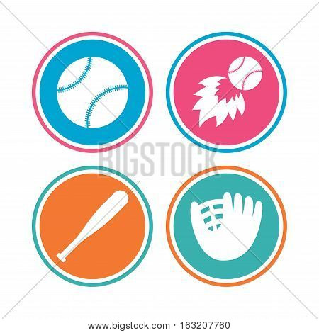 Baseball sport icons. Ball with glove and bat signs. Fireball symbol. Colored circle buttons. Vector