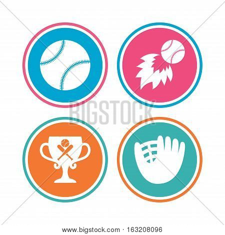 Baseball sport icons. Ball with glove and two crosswise bats signs. Fireball with award cup symbol. Colored circle buttons. Vector