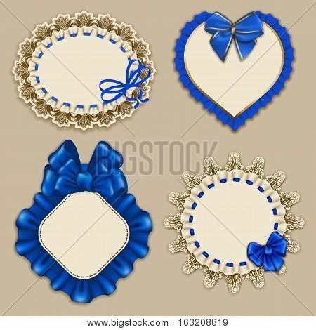 Set of elegant templates ornate frames for design luxury invitation, gift, greeting card, postcard with lace ornament, ruffles, blue bows, ribbons, place for text. Vector illustration EPS10