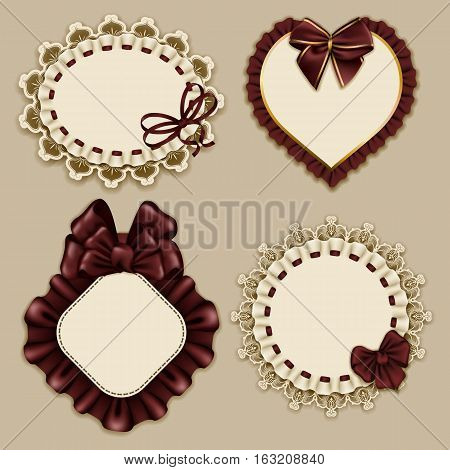Set of elegant templates ornate frames for design luxury invitation, gift, greeting card, postcard with lace ornament, ruffles, brown bows, ribbons, place for text. Vector illustration EPS10