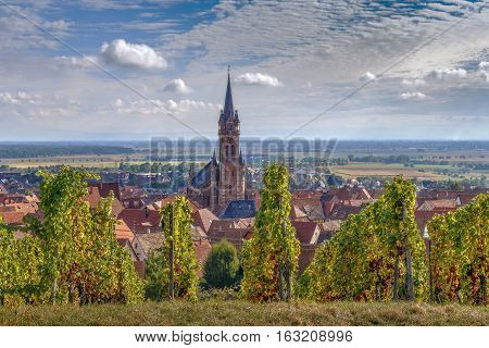 View of Dambach la Ville from the hill with vineyard Alsace France