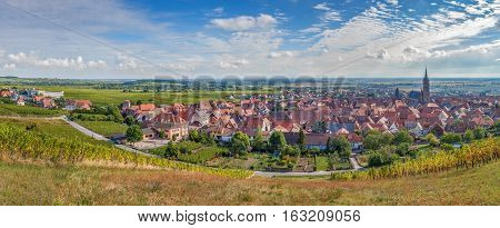 Panoramic view of Dambach la Ville from the hill with vineyard Alsace France