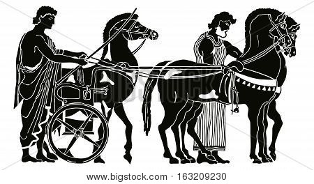 Greek style drawing. Warriors in tunic equips horses. Black pattern isolated on white background.