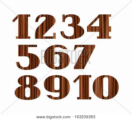 Numbers, wood grain, imitation, white background, vector. Colored, flat numbers with serifs on a white background. Imitation wood texture.