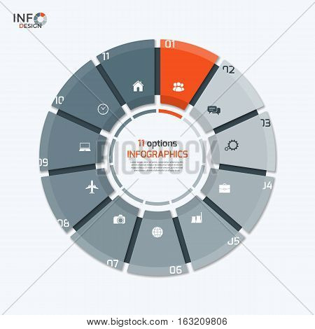 Vector Circle Chart Infographic Template With 11 Options For Presentations, Advertising, Layouts, An