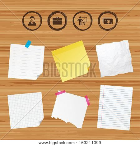 Business paper banners with notes. Businessman icons. Human silhouette and cash money signs. Case and presentation symbols. Sticky colorful tape. Vector