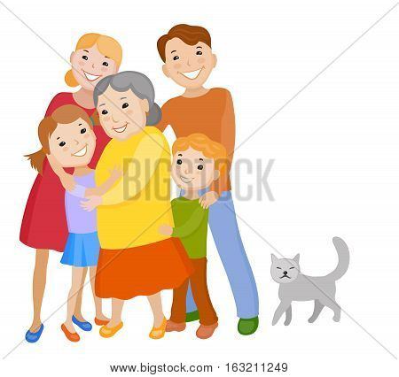 Fun cartoon family in colorful stylish clothes. Father mother children grandmother and kat all together one family