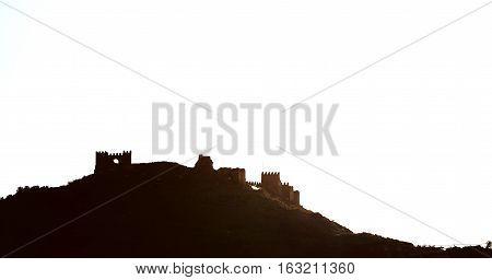 Silhouette of an Tabernas castle (Castillo de Tabernas) it was built in the 11th. Province of Almeria Andalusia. Spain