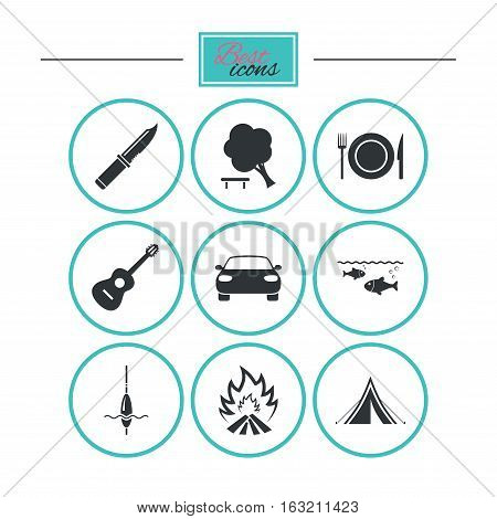 Hike trip, camping icons. Fishing, campfire and tourist tent signs. Guitar music, knife and food symbols. Round flat buttons with icons. Vector