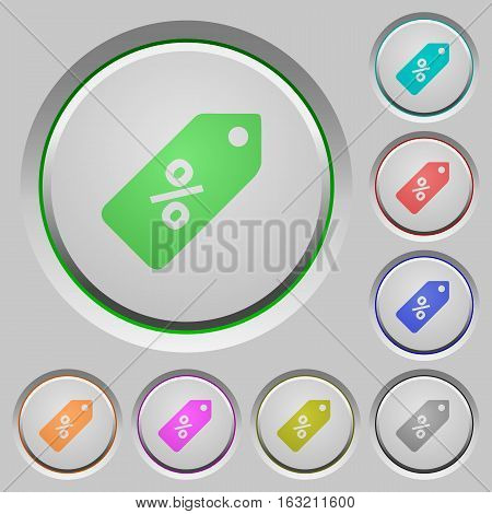 Discount price label color icons on sunk push buttons