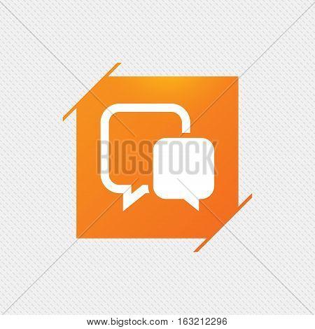 Chat sign icon. Speech bubble symbol. Communication chat bubble. Orange square label on pattern. Vector