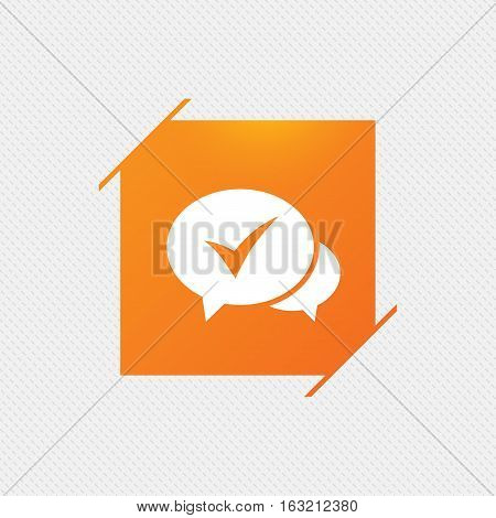 Check sign icon. Yes or Tick symbol. Confirm. Orange square label on pattern. Vector