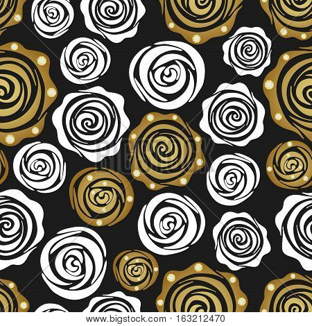 Seamless pattern with golden and white roses. Create gift and packaging paper scrapbook fabric materials holiday invites birthday cards party decorations clothes textile web pages and more