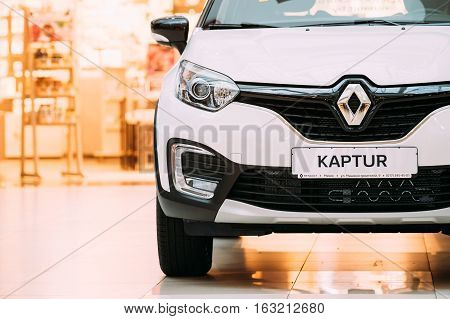 Minsk, Belarus - November 04, 2016: White Color Renault Kaptur Car Is The Subcompact Crossover In Hall Shopping Center.