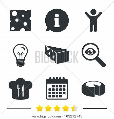 Cheese icons. Round cheese wheel sign. Sliced food with chief hat symbols. Information, light bulb and calendar icons. Investigate magnifier. Vector