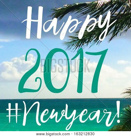 Tropical travel adventure Happy New Year 2017 words written over ocean with multi color turquoise ocean and palm tree Year 2017 written over the clouds social media hashtag #newyear2017 network sharing image for community friends and followers