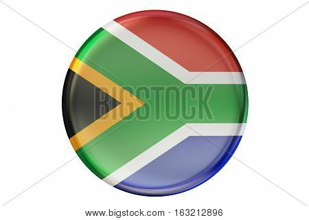 Badge with flag of South Africa 3D rendering isolated on white background