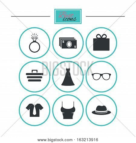 Accessories, clothes icons. Shirt with tie, glasses signs. Dress and engagement ring symbols. Round flat buttons with icons. Vector