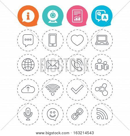 Communication icons. Smartphone, laptop and speech bubble symbols. Wi-fi and Rss. Online love dating, mail and globe thin outline signs. Information, question and answer icons. Vector