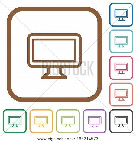 Monitor simple icons in color rounded square frames on white background