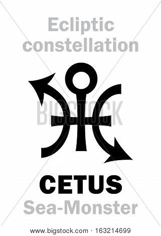 Astrology Alphabet: sign of CETUS (The Sea-Monster), constellation of Ecliptic (between Aquarius and Pisces, Eridanus). Hieroglyphics character sign (original single symbol).