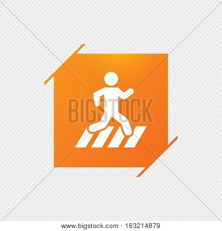 Crosswalk icon. Crossing street sign. Orange square label on pattern. Vector