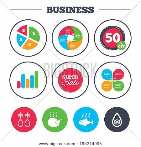 Business pie chart. Growth graph. Defrosting drop and snowflake icons. Hot fish and chicken signs. From ice to water symbol. Super sale and discount buttons. Vector
