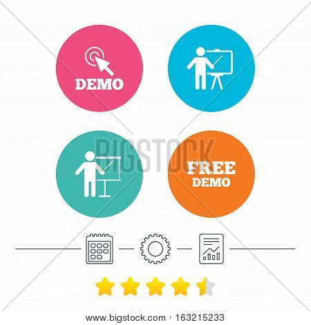 Demo with cursor icon. Presentation billboard sign. Man standing with pointer symbol. Calendar, cogwheel and report linear icons. Star vote ranking. Vector