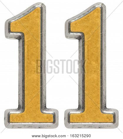 Metal numeral 11 eleven iisolated on white background