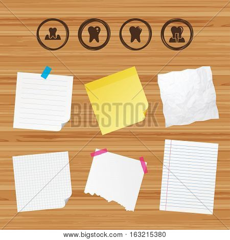 Business paper banners with notes. Dental care icons. Caries tooth sign. Tooth endosseous implant symbol. Parodontosis gingivitis sign. Sticky colorful tape. Vector