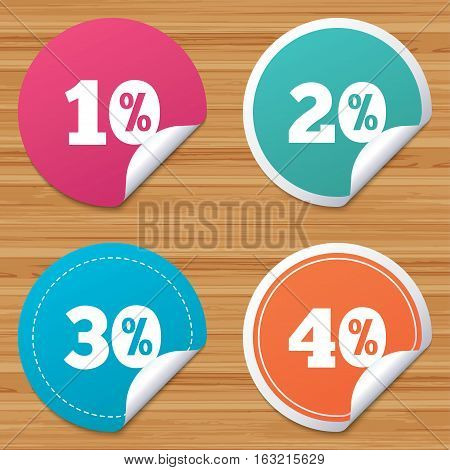 Round stickers or website banners. Sale discount icons. Special offer price signs. 10, 20, 30 and 40 percent off reduction symbols. Circle badges with bended corner. Vector
