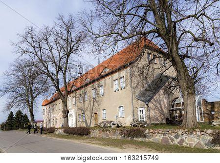 PUDAGLA GERMANY - MAR 27 2016: people visit old Pudagla castle in Usedom Germany