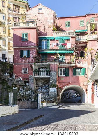 Old Houses In  Amalfi With Large Crip And Religious Crib Figurine