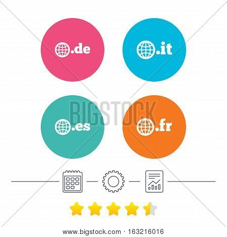 Top-level internet domain icons. De, It, Es and Fr symbols with globe. Unique national DNS names. Calendar, cogwheel and report linear icons. Star vote ranking. Vector