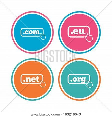 Top-level internet domain icons. Com, Eu, Net and Org symbols with hand pointer. Unique DNS names. Colored circle buttons. Vector