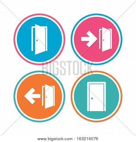 Doors icons. Emergency exit with arrow symbols. Fire exit signs. Colored circle buttons. Vector