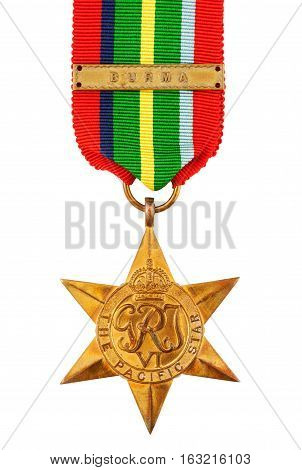 The Pacific Star Second World War Medal with Burma Clasp isolated on white with clipping path