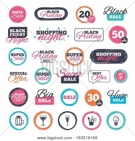 Sale shopping stickers and banners. Alcoholic drinks icons. Champagne sparkling wine with bubbles and beer symbols. Wine glass and cocktail signs. Website badges. Black friday. Vector