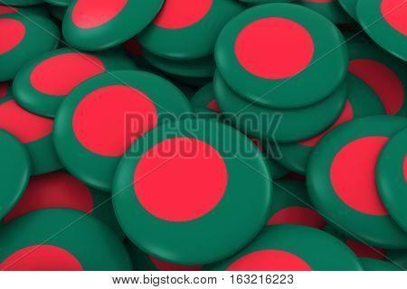 Bangladesh Badges Background - Pile Of Bangladeshi Flag Buttons 3D Illustration