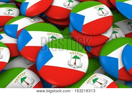 Equatorial Guinea Badges Background - Pile Of Equatorial Guinean Flag Buttons 3D Illustration