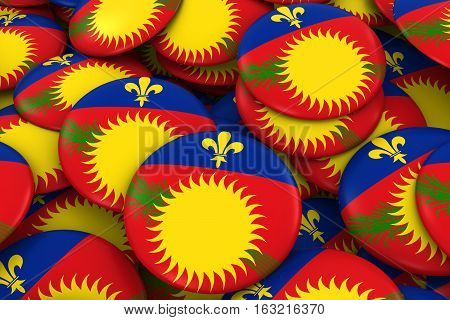 Guadeloupe Badges Background - Pile Of Guadeloupe Flag Buttons 3D Illustration