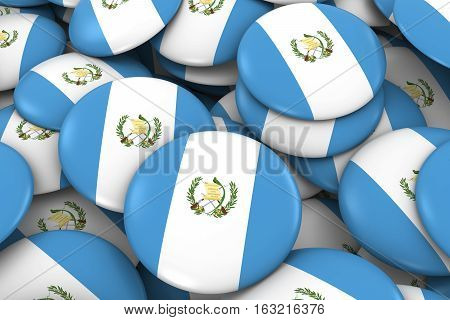 Guatemala Badges Background - Pile Of Guatemalan Flag Buttons 3D Illustration