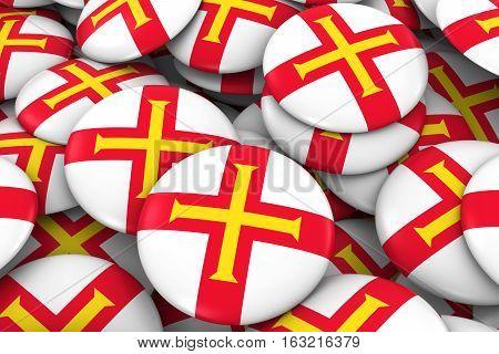 Guernsey Badges Background - Pile Of Channel Island Flag Buttons 3D Illustration