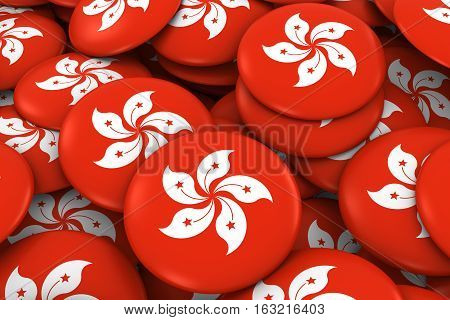 Hong Kong Badges Background - Pile Of Hong Kongese Flag Buttons 3D Illustration