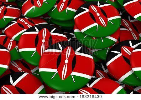 Kenya Badges Background - Pile Of Kenyan Flag Buttons 3D Illustration