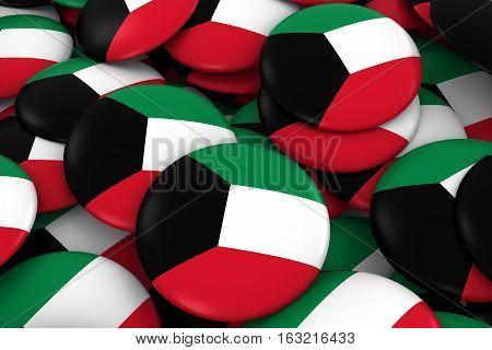Kuwait Badges Background - Pile Of Kuwaiti Flag Buttons 3D Illustration