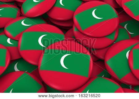 Maldives Badges Background - Pile Of Maldivian Flag Buttons 3D Illustration