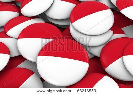 Monaco / Indonesia Badges Background - Pile Of Monegasque / Indonesian Flag Buttons 3D Illustration
