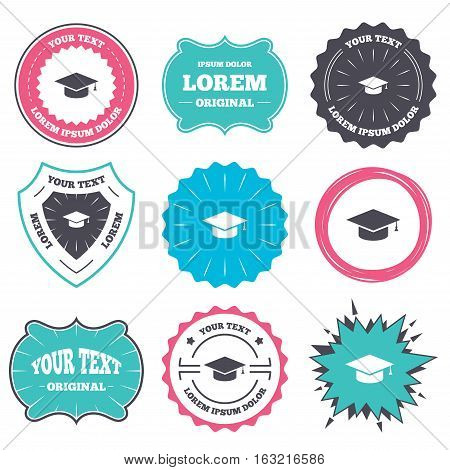 Label and badge templates. Graduation cap sign icon. Higher education symbol. Retro style banners, emblems. Vector